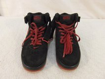 adult mens nike air force ones black red swoosh 10 laced basketball shoes 33559 in Huntington Beach, California