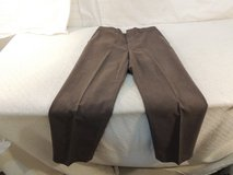haggar worsted wool blend pleated dress pants mens 34x32 brown hook  fasten  51147 in Fort Carson, Colorado