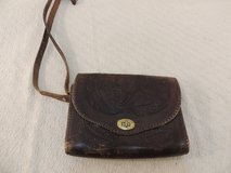 vintage antique leather purse messenger bag mid century engraved detail 51027 in Fort Carson, Colorado