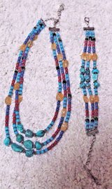 Triple Strand Necklace & Bracelet 2-Piece Set, Turquoise, Blue, Red, Amber, Green Beads in Naperville, Illinois