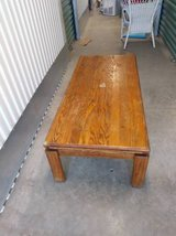 long solid wood coffe table that needs to be refinished in Sacramento, California