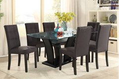 dining glass table with 6 linen chairs set free delivery in Miramar, California