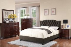 new queen size tufted ash black linen bed frame free delivery in Miramar, California