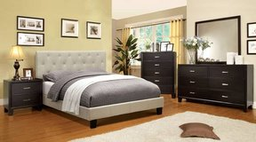 new ivory tufted bed frame in queen or california king free delivery in Miramar, California