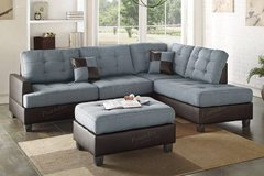 new blue grey sectional in linen with ottoman free delivery in Miramar, California