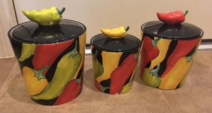 set of 3 chili pepper canisters in Kingwood, Texas