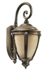 outdoor wall sconce / lantern in bronze patina (by quorum internationa in Kingwood, Texas