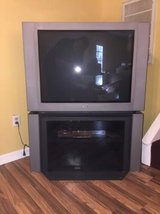 "sony 36"" flat display color tv w/glass component stand in Warner Robins, Georgia"