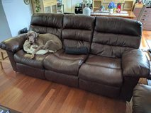 Manual Reclining Leather Couch in DeKalb, Illinois