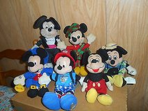 Lot of 6 MICKEY MOUSE PLUSH TOYS! Paul Revere, Camper, Disney World, Tourist Mickey, + More! in Bellaire, Texas
