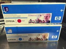 hp color laserjet print cartridge 1500 • 2500 lot of 2 c9701a c9703a in Naperville, Illinois