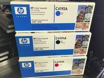 hp laserjet 4500-4550 lot of 3 ink toner cartridges c4191a, c4192a, c4193a in Joliet, Illinois