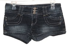 Angels 3-Button Waist Flap Pocket Denim Jean MINI Shorts Womens 7 Juniors in Yorkville, Illinois