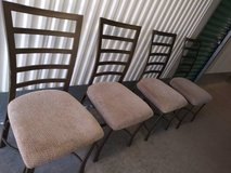 set of 4 dining chairs metal frame padded seats in Travis AFB, California