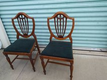 2 Art Deco Wood Dining Bedroom Side Chair Fabric Seat in Roseville, California