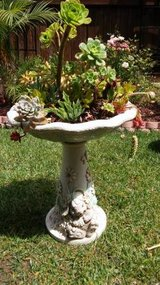 Beautiful bird bath With a variety of succulent plants. in Camp Pendleton, California