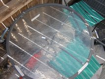 outdoor patio glass top table & 2 chairs need reupholstered 90224 in Fort Carson, Colorado