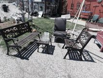 Three Piece Wrought Iron and Wood Patio Set in Fort Riley, Kansas