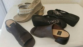 Sandals and dark brown leather slip ons in Oceanside, California