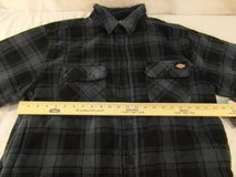 nwts dickies blue black plaid polyester relaxed fit lined large overshirt jacket  00232 in Huntington Beach, California
