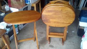 Oak TV Table Set with Storage Stand in Fort Rucker, Alabama