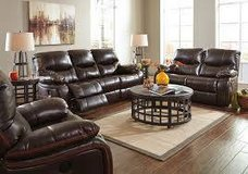 BROWN FAUX LEATHER RECLINING SOFA/LOVE in Schofield Barracks, Hawaii