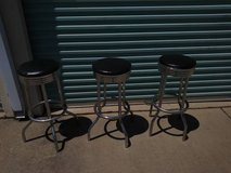 3 Vintage Chrome Padded Soda Fountain Style bar stools in Roseville, California