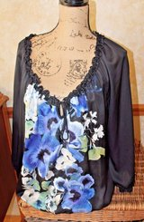 White House Black Market Black Peasant-Style Blouse-Blue Flowers - Elastic Neck, Hips, Wrists in Lockport, Illinois