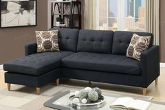 New Black Linen Mini Linen Sofa Sectional with Pillows FREE DELIVERY in Oceanside, California