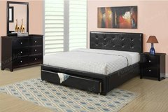 New Black Tufted Storage QUEEN Bed Frame DELIVERY in Oceanside, California