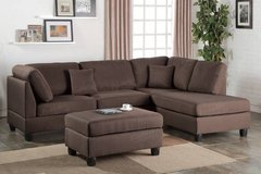 Chocolate Linen Sofa Sectional and Ottoman FREE DELIVERY* in Oceanside, California