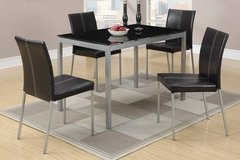 Black Glass Table Top and 4 Chairs Set FREE DELIVERY in Oceanside, California