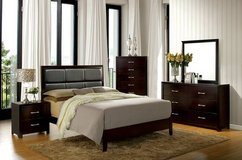Janine QUEEN Espresso Wood Bed Frame Chest and Dresser FREE DELIVERY in Oceanside, California