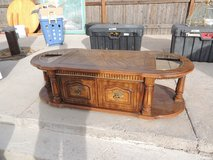 wood coffee table w/ gold accents glass panels cabinet storage oval  51010 in Fort Carson, Colorado