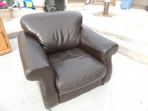 large leather arm chair dark brown wide relax flat base 51007 in Huntington Beach, California