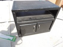 small rolling entertainment center tv stand wood black cabinet local pickup in Huntington Beach, California