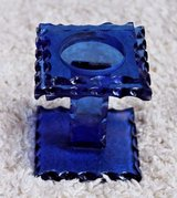 Vintage Cobalt Blue Glass Candle Holder, 3.25 x 3 in - Votive Size Candles in Naperville, Illinois