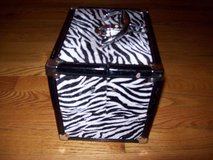 make-up beauty cosmetic jewelry train case travel box zebra print in Lockport, Illinois