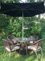 : ) All Weather Wicker Patio Furniture Set: Includes Umbrella !!! Nice in Glendale Heights, Illinois