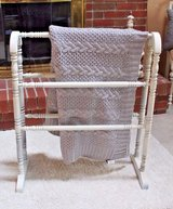 Vintage Chiffon Cream Chalk Painted Wood Quilt Rack/Stand in Naperville, Illinois