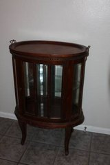 Solid Mahogany Oval Chocolate Table, Curio, Liquor Cabinet in Kingwood, Texas