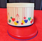 bright vintage tin with stars and hearts, blue inside 3.5 x 3 in in Glendale Heights, Illinois