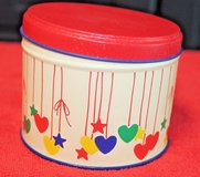 Bright Vintage Tin with Stars and Hearts, Blue Inside 3.5 x 3 inCHES in Glendale Heights, Illinois