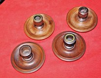 Assortment of  4 Vintage Wooden Taper Candle Holders in Lockport, Illinois