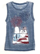 Peanuts Blue Tie Dye Snoopy Fireworks Tank Top T-Shirt Small 4th of July Flag in Morris, Illinois