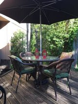 **ALL WEATHER WICKER PATIO SET**TABLE,4CHAIRS,CUSHIONS,UMBRELLA,STAND in Naperville, Illinois