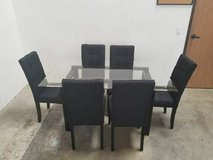Dining Glass Table with 6 Linen Chairs Set FREE DELIVERY in Camp Pendleton, California