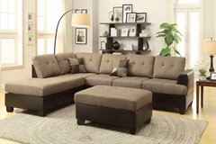 New Tan Linen Sectional +Ottoman LINEN FREE DELIVERY in Vista, California