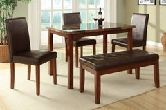 New Dining Table + **3 Chairs + Bench Set  Marble Finish FREE DELIVERY in Camp Pendleton, California