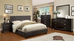 "King Charcoal Tufted Bed Frame + 9"" Pillowtop Mattress FREE DELIVERY in Miramar, California"